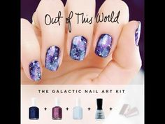 """VIDEO TUTORIAL ▶ Out of this World Galaxy Nail Art Kit Tutorial - YouTube by #getnailedd :: Uses Essie Midnight Cami (base) & Borrowed & Blue w/ Jamaican Me Crazy to sponge on. Nubar Silver Spark (silver glitter for the """"stars""""). Top coat & done. CLICK for the technique!"""