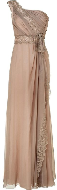Alberta Ferretti Warm taupe and nude silk chiffon gown