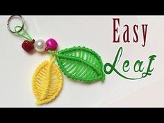 Macrame tutorial: The Leaf and Flower set keychain Part 2 - Easy leaf - Hướng dẫn thắt móc khóa - YouTube