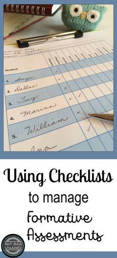 Checklists make it super easy to collect formative assessments. Great for keeping track of student progress on projects and managing conference schedules. Reduce your workload and the homework you collect! These six checklists are ready to print and use.