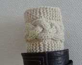 Knit Boot Socks, Women's Knit Accessory, Boot Accessory Short Leg Warmers Boot toppers or boot cuffs Short Cable Knit Leg Warmers boot socks