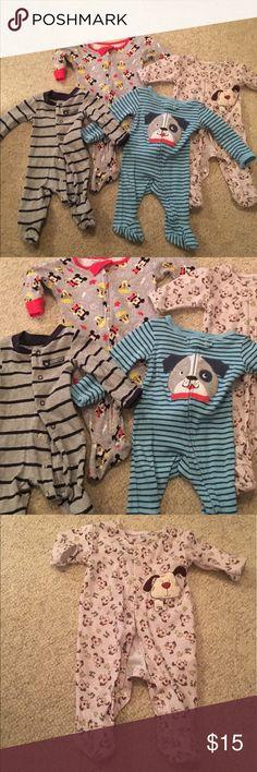 4 newborn baby boy footie pajamas/ onesies 4 newborn baby boy footie pajamas/ onesies in nice condition # 331 Pajamas Sleep Sacks