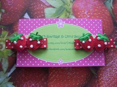 Choice of 2 Different Strawberry Hair Clippies by LittleDollysShop, $5.00