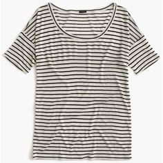 J.Crew 10 percent T-shirt in stripe ($85) ❤ liked on Polyvore featuring tops, t-shirts, white drape top, white stripes t shirt, stripe tee, drapey top e j crew top