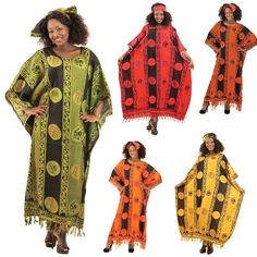 """African Adrinka Kaftan is 100% rayon; machine wash. Fits up to a 74"""" bust and 50"""" length (Mustard only)."""