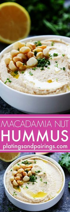 Macadamia Nut Hummus puts a Hawaiian spin on the traditional chickpea spread– It's rich, creamy, tangy and perfect for slathering on sandwiches or serving as an appetizer dip with vegetables.   http://platingsandpairings.com