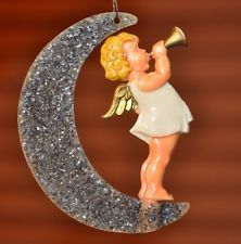 "ANTIQUE Germany CELLULOID ""ANGEL-on-MOON Christmas Ornament 1900s Vintage german"