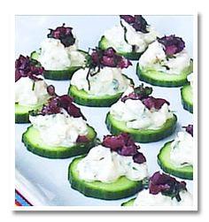 Greek Salad Bites... Cucumber, feta cheese, kalamata olives...yummmm