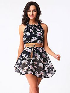 Buy Europe and The United States Summer Wear New Floral Chiffon Loose Posed  A Skirt Send The Belt at Wish - Shopping Made Fun 8928a77f3