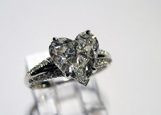 2.50ct Antique Vintage Heart Shape DIAMOND ENGAGEMENT Wedding Anniversary Ring Natural 18k