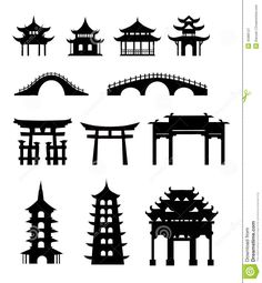 Illustration of Chinese traditional buildings vector art, clipart and stock vectors. Chinese Culture, Japanese Culture, Japanese Art, African Culture, Japanese Buildings, Building Drawing, Building Art, Asian Architecture, Ancient Architecture