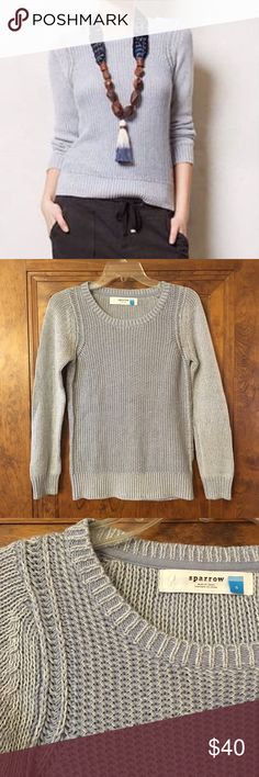 """Anthropologie Sparrow Sweater Sky blue cable knit sweater by Sparrow for Anthropologie. Crew neck long-sleeve design. Cotton/acrylic mix is super soft and it's light weight overall which makes it perfect for layering. Excellent condition. Size small fits true; apx 25"""" Long and 16"""" across armpits. Bundle to save 15% Anthropologie Sweaters Crew & Scoop Necks"""