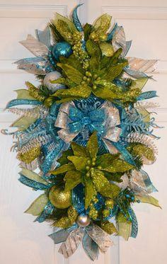 Blue Teal Green Silver Christmas Winter Holiday Door Swag Wreath Arrangement