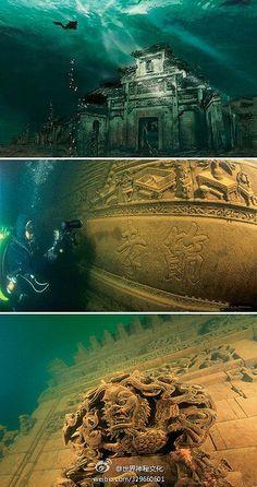 Old city under the water. Qian-dao lake, Zhejiang province, China.
