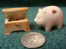 Vintage Miniature Arcadia Jewelry Box & Piggy Bank Salt & Pepper Shakers