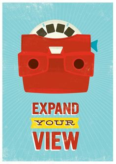 etsy handz:Retro Geekery poster, quote print, pop art, nursery art, inspirational quote, motivational wall art - Viewmaster, expand your view A3.