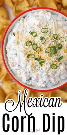 Mexican corn dip has all the flavors of Mexican street corn, is a family favorite and usually disappears faster than it should. This easy appetizer features Mexicorn, roasted green chilies as well as shredded cheese. Corn Dip Recipes, Snack Recipes, Cooking Recipes, Snacks, Mexican Corn Dip, Mexican Street Corn, Clean Freezer Meals, Dips, Sauces