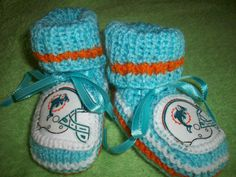 Custom Handmade Knit NFL MIAMI DOLPHINS Baby Booties in by magge03, $25.99