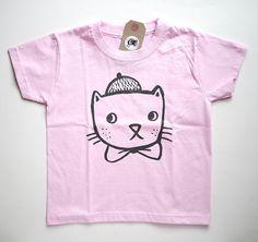 Stampato a mano Arty Cat - capretto rosa Tee 3-4 anni