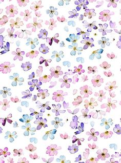 pretty lilac, pink and aqua watercolour flowers pattern
