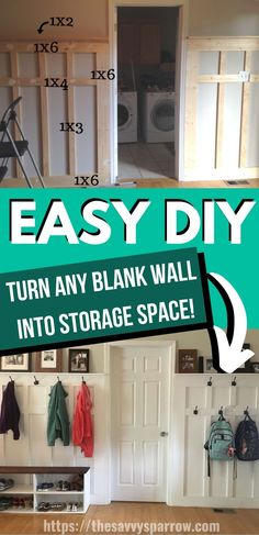 Learn how to make a DIY mudroom on a budget with this easy DIY tutorial! Perfect way to add storage space to your farmhouse living room. Build this DIY mudroom wall on any blank wall in only one…More Living Room On A Budget, Living Rooms, Apartment Living, Storage In Living Room, Bedroom Storage, Diy House Projects, Diy House Ideas, House Ideas On A Budget, Diy House Decor