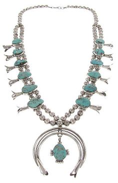 Turquoise Navajo Squash Blossom Necklace GS61286