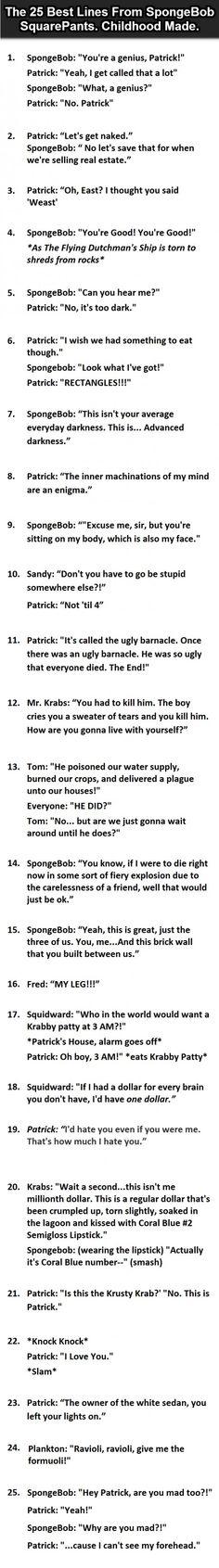 The Best Lines From #SpongeBobSquarepants.