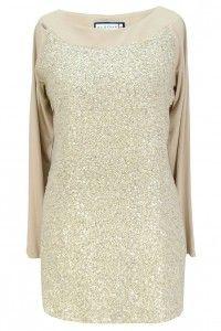 Aldona tunika beż z kokardką i cekinami /Aldona beige tunic with bow and sequins #tunic #beige #gold #fashion #sequins