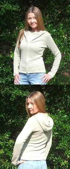 Eco Friendly Organic Hemp Knit Serenity Hoody - Latex Free hypoallergenic women's tops, made in the USA in small to plus sizes.