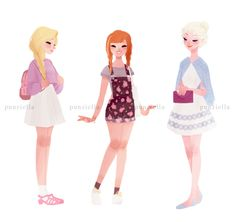 casual princesses and a queen by punziella