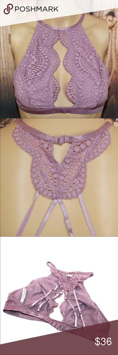 VS PINK Mauve High Neck Keyhole Bralette New with all tags included!  Features:  Lift & Lining Mesh lining Wireless cups Straps & Hooks Back closure Hooks at halter neck and back Details & Fabric Imported nylon/spandex  *No Trade  Thank you very much! PINK Victoria's Secret Intimates & Sleepwear Bras