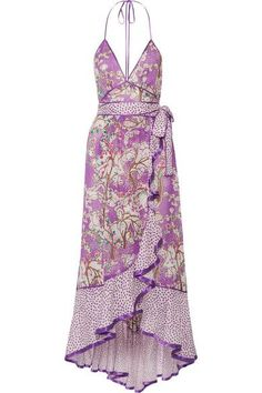 Marc Jacobs ruffled printed cotton and silk blend halterneck dress