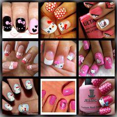More hello kitty nails! Beautiful Nail Designs, Cute Nail Designs, Beautiful Nail Art, Diy Nails, Cute Nails, Pretty Nails, Garra, Nail Selection, Hello Kitty Nails
