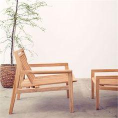 Loungestol L201 – Natur teak Sammen havemøbler i dansk design fra FDB Møbler