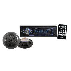 Black Pyle PLMRKT12BK 200W Marine Boat MP3 USB SD Player Stereo Radio 2 Speakers