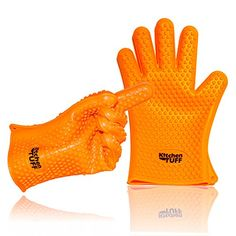 KitchenTUFF Highly Rated Oven Gloves Grilling Max Heat Resistant Silicone BBQ Potholder Reg Size  Orange * This is an Amazon Affiliate link. You can get additional details at the image link.