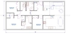 new cottage 1  Floor Plan 24'x48' single level log home (rancher/bungalow style)