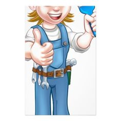 Cartoon Woman Painter Decorator Character Stationery - construction business diy customize personalize