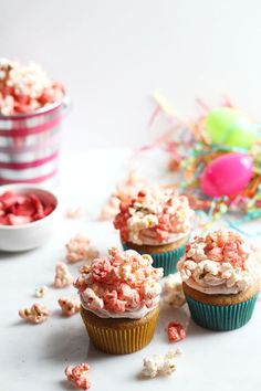 These strawberry cupcakes are topped with crunchy popcorn, easily creating a dessert kids and adults will love.