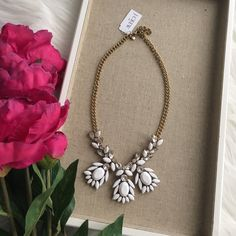 Stunning white stone necklace Stunning white necklace. NWT from J.Crew factory. Authentic comes with pouch. J. Crew Jewelry Necklaces