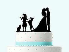 Wedding Cake Topper Silhouette Groom and Bride, Acrylic Cake Topper