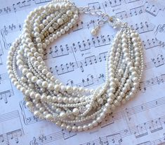 Ivory Pearl Bridal Statement Necklace - Bridal Bling, via Etsy.