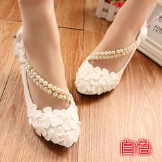 Details about White lace Wedding shoes pearls ankle trap Bridal flats low high heels size New White lace Wedding shoes pearls ankle trap Bridal flats low high heels size in Clothing, Shoes & Accessories, Wedding & Formal Occasion, Bridal Shoes Diy Wedding Shoes, Converse Wedding Shoes, Wedge Wedding Shoes, Bridal Flats, Designer Wedding Shoes, Wedding Heels, Lace Wedding, Wedding White, Casual Wedding