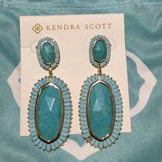 Kendra Scott Luxe earrings Turquoise Kendra Scott Lux Earrings--one stone missing! Kendra Scott Jewelry Earrings