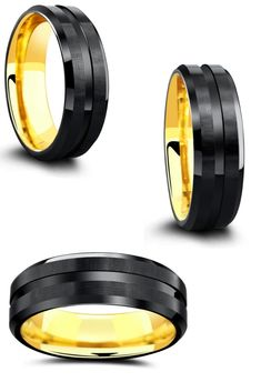 This unique men's wedding ring is crafted out of tungsten carbide featuring a yellow gold interior and a modern black exterior. This men's ring makes the perfect combination of both the classic wedding ring and the modern men's wedding ring. #mensweddingring #uniqueweddingring #Mensweddingbands