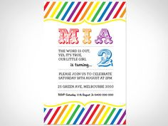 2nd Birthday Invitation  150mm x 100mm by SomethingFrom on Etsy, $15.00