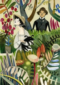 Felicita Sala.  Jane Austen Illustrations.  Imaginative and semi-abstracted depictions of nature.