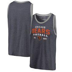 Chicago Bears NFL Pro Line by Fanatics Branded Refresh Tri-Blend Ringer Tank Top - Navy