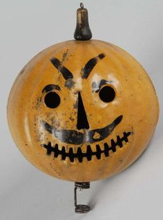 Lot # : 319 - Tin Halloween Pumpkin Head Parade Lantern.