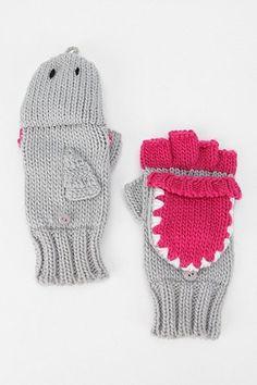 gray shark mittens